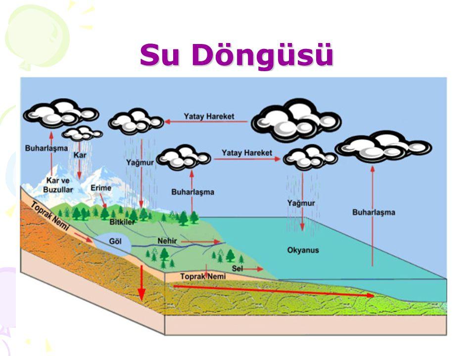 Yeryüzündeki suların buharlaşarak bulutu oluşturması ve sonra da yağış halinde yeryüzüne dönmesi olayına suyun döngüsü denir.