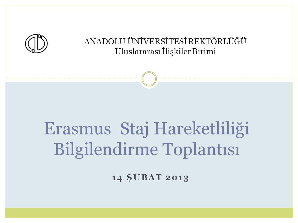 14 ŞUBAT 2013 Erasmus Staj Hareketliliği Bilgilendirme Toplantısı ANADOLU ÜNİVERSİTESİ REKTÖRLÜĞÜ Uluslararası İlişkiler Birimi