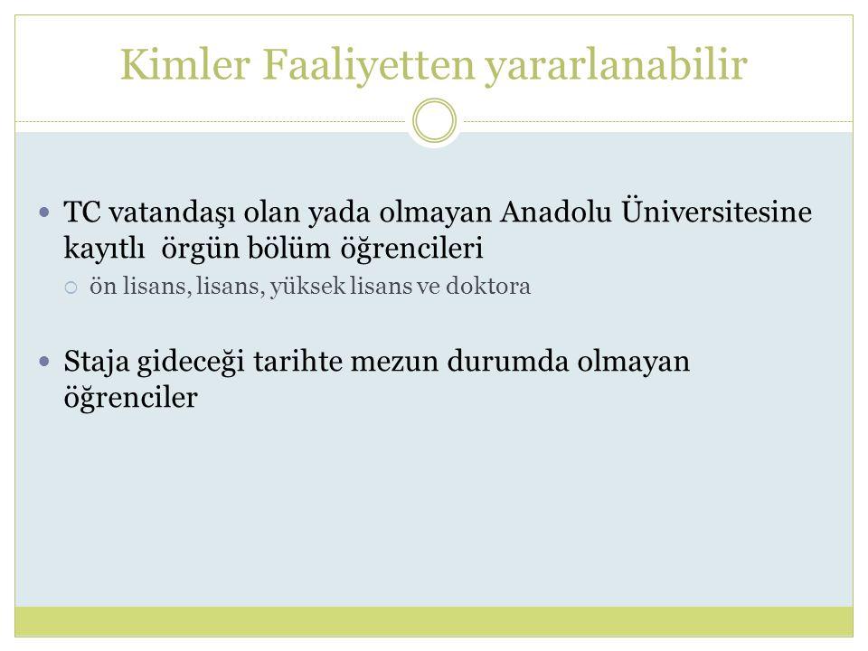 Kimler Faaliyetten yararlanabilir TC vatandaşı olan yada olmayan Anadolu Üniversitesine kayıtlı örgün bölüm öğrencileri  ön lisans, lisans, yüksek lisans ve doktora Staja gideceği tarihte mezun durumda olmayan öğrenciler