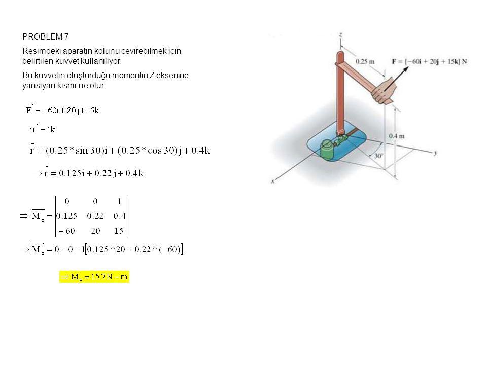 PROBLEM 7 Resimdeki aparatın kolunu çevirebilmek için belirtilen kuvvet kullanılıyor.