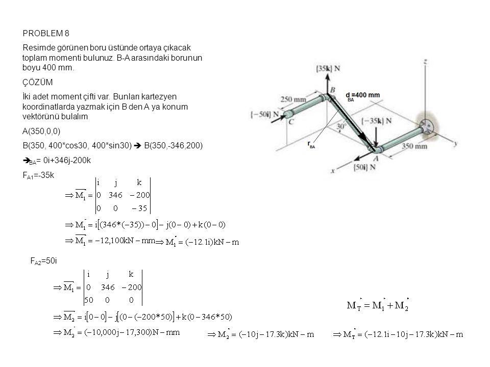 PROBLEM 8 Resimde görünen boru üstünde ortaya çıkacak toplam momenti bulunuz.