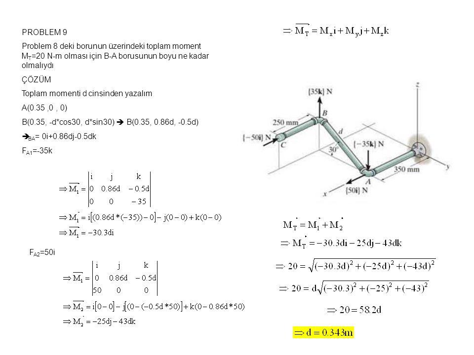 PROBLEM 9 Problem 8 deki borunun üzerindeki toplam moment M T =20 N-m olması için B-A borusunun boyu ne kadar olmalıydı ÇÖZÜM Toplam momenti d cinsinden yazalım A(0.35,0, 0) B(0.35, -d*cos30, d*sin30)  B(0.35, 0.86d, -0.5d)  r BA = 0i+0.86dj-0.5dk F A1 =-35k F A2 =50i
