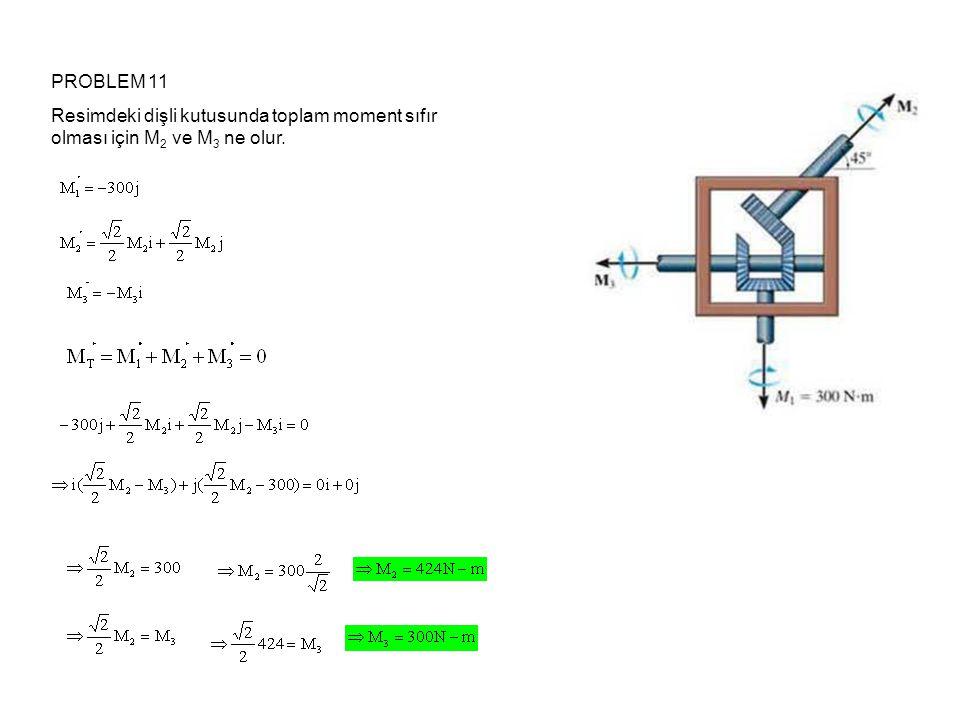 PROBLEM 11 Resimdeki dişli kutusunda toplam moment sıfır olması için M 2 ve M 3 ne olur.
