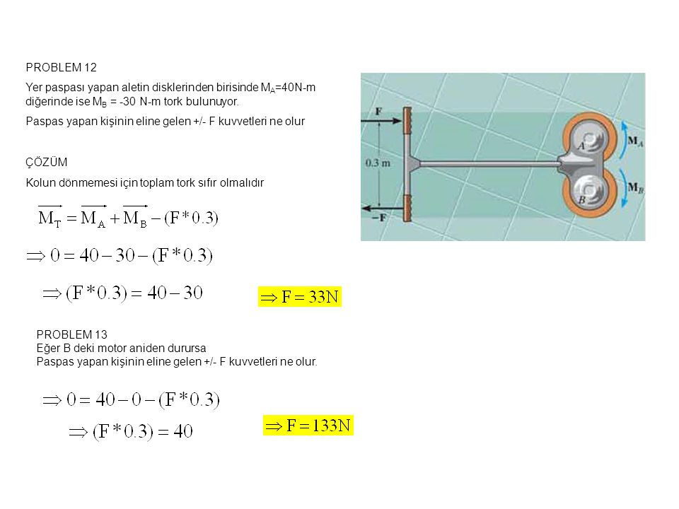 PROBLEM 12 Yer paspası yapan aletin disklerinden birisinde M A =40N-m diğerinde ise M B = -30 N-m tork bulunuyor.