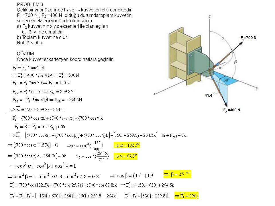 PROBLEM 3 Çelik bir yapı üzerinde F 1 ve F 2 kuvvetleri etki etmektedir.