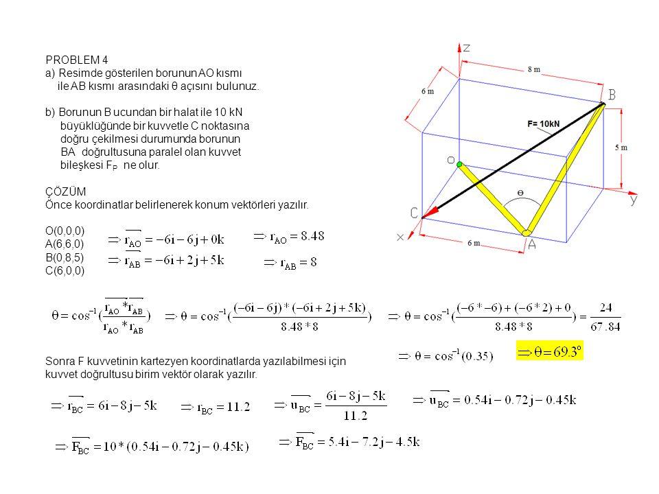 PROBLEM 4 a) Resimde gösterilen borunun AO kısmı ile AB kısmı arasındaki θ açısını bulunuz.