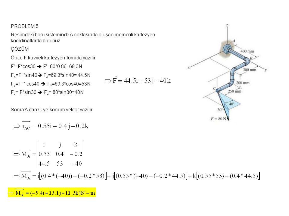 PROBLEM 5 Resimdeki boru sisteminde A noktasında oluşan momenti kartezyen koordinatlarda bulunuz ÇÖZÜM Önce F kuvveti kartezyen formda yazılır.