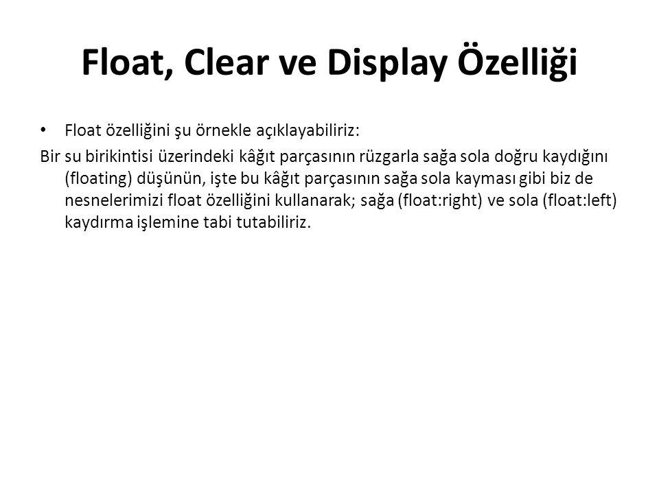 Float, Clear ve Display Özelliği Float özelliğini şu örnekle açıklayabiliriz: Bir su birikintisi üzerindeki kâğıt parçasının rüzgarla sağa sola doğru