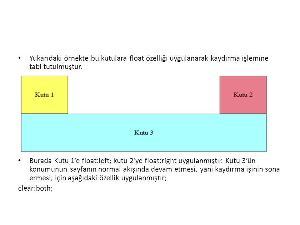 Yukarıdaki örnekte bu kutulara float özelliği uygulanarak kaydırma işlemine tabi tutulmuştur. Burada Kutu 1'e float:left; kutu 2'ye float:right uygula