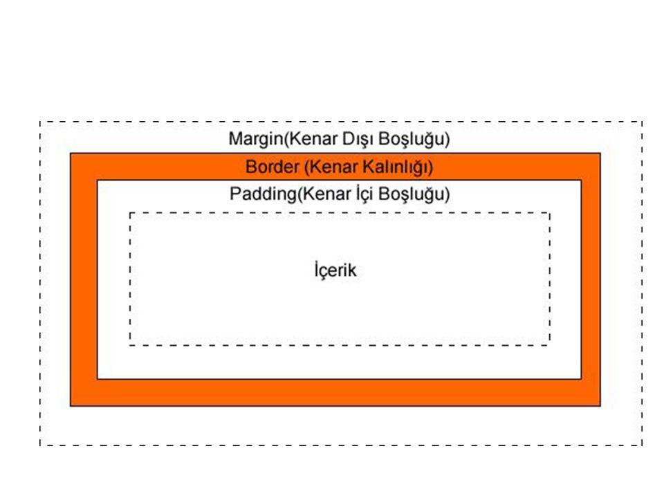 1) Kenar Dışı Boşluğu (margin) Özellikleri  Turuncu renk ile sınırları belli olan kutumuzun diğer ögelerle arasındaki mesafeyi belirleyen 'margin' ögesinin alt elemanları şunlardır;  margin-top (üst kenar dışı boşluğu)  margin-right (sağ kenar dışı boşluğu)  margin-bottom (alt kenar dışı boşluğu)  margin-left (sol kenar dışı boşluğu)  margin (kenar dışı boşlukları) (Kısaltma amaçlı kullanılır.)