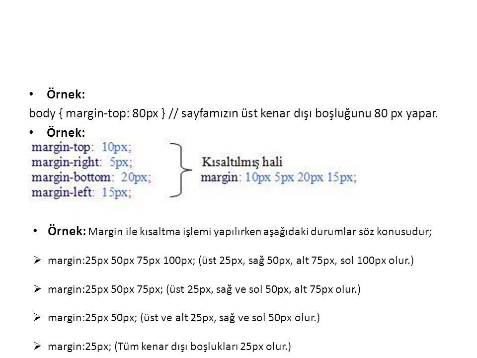 Örnek: body { margin-top: 80px } // sayfamızın üst kenar dışı boşluğunu 80 px yapar. Örnek: Örnek: Margin ile kısaltma işlemi yapılırken aşağıdaki dur