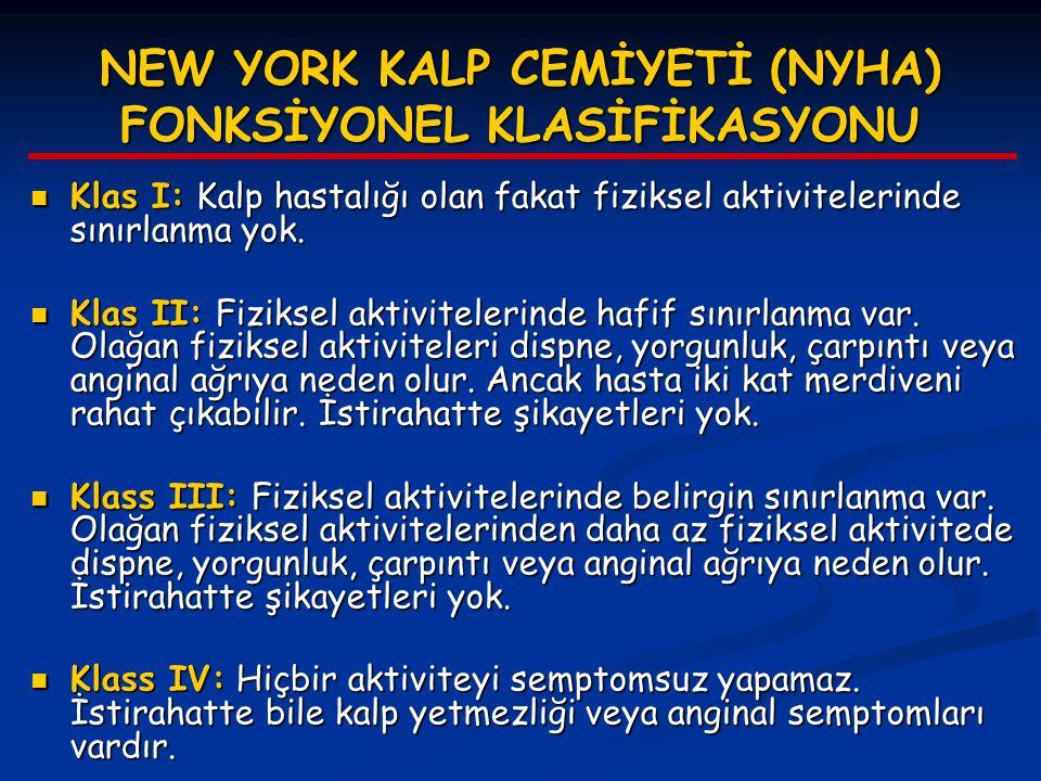 NEW YORK KALP CEMİYETİ (NYHA) FONKSİYONEL KLASİFİKASYONU Klas I: Kalp hastalığı olan fakat fiziksel aktivitelerinde sınırlanma yok. Klas I: Kalp hasta