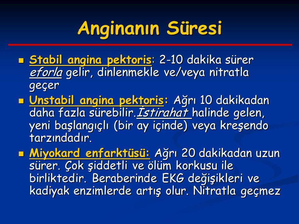 Anginanın Süresi Stabil angina pektoris: 2-10 dakika sürer eforla gelir, dinlenmekle ve/veya nitratla geçer Stabil angina pektoris: 2-10 dakika sürer
