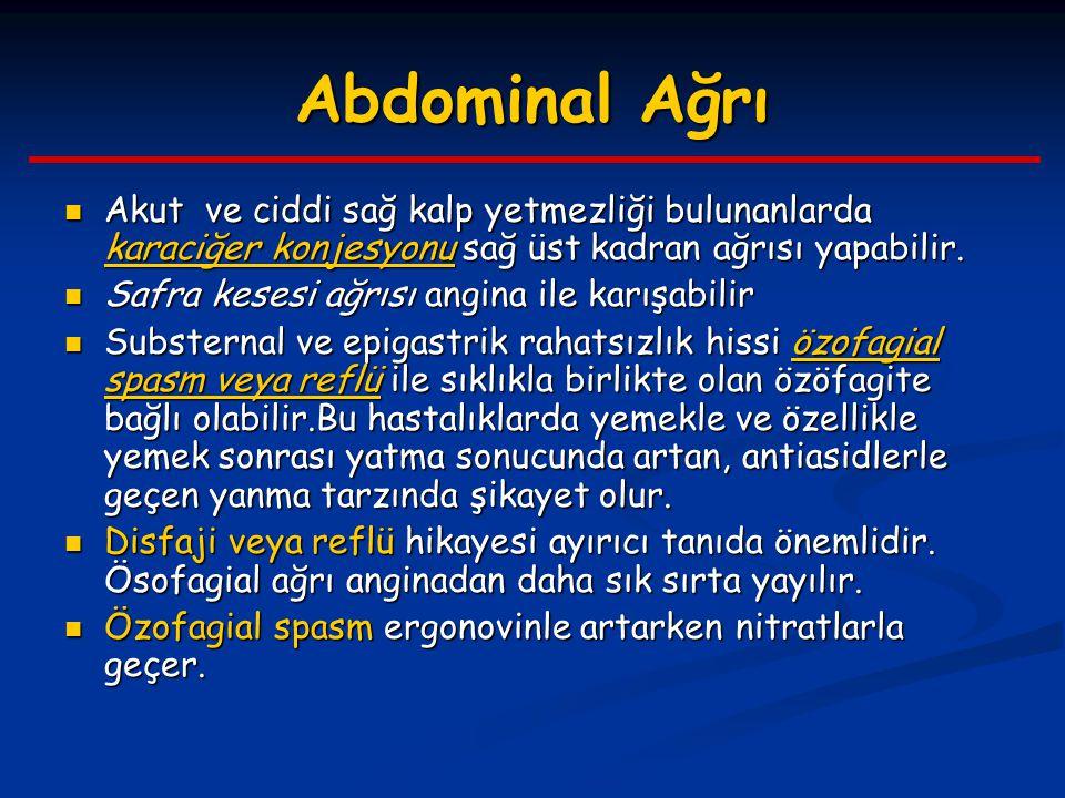 Abdominal Ağrı Akut ve ciddi sağ kalp yetmezliği bulunanlarda karaciğer konjesyonu sağ üst kadran ağrısı yapabilir. Akut ve ciddi sağ kalp yetmezliği