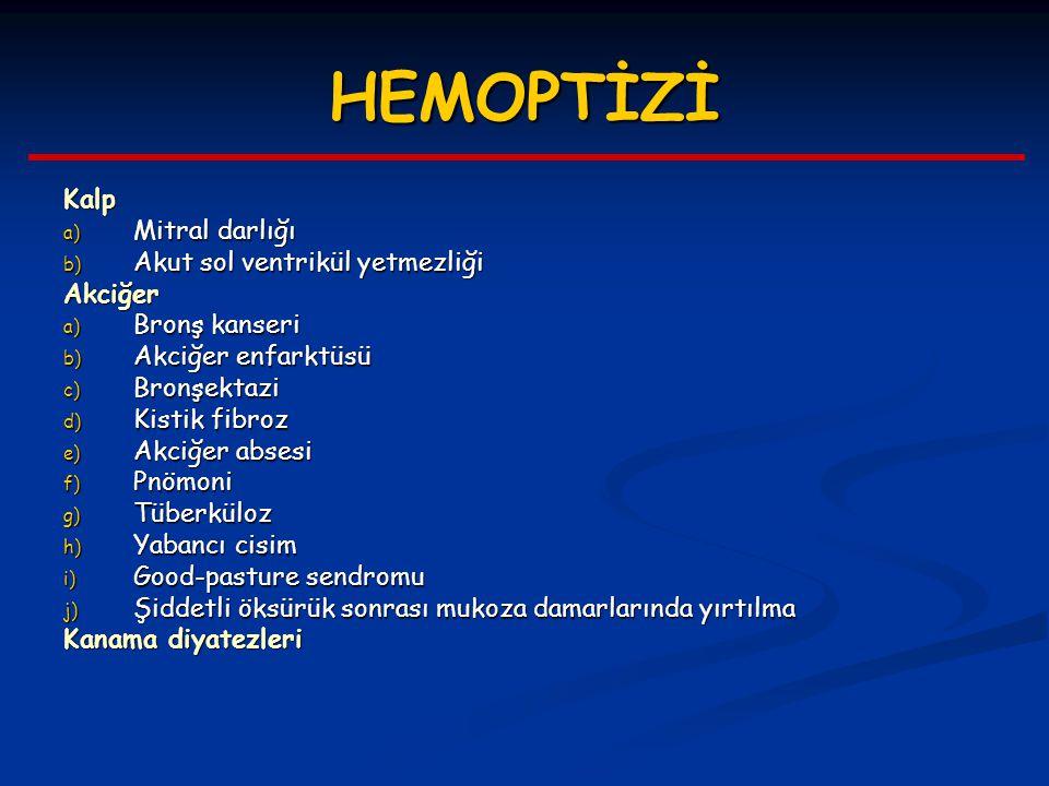 HEMOPTİZİ Kalp a) Mitral darlığı b) Akut sol ventrikül yetmezliği Akciğer a) Bronş kanseri b) Akciğer enfarktüsü c) Bronşektazi d) Kistik fibroz e) Ak