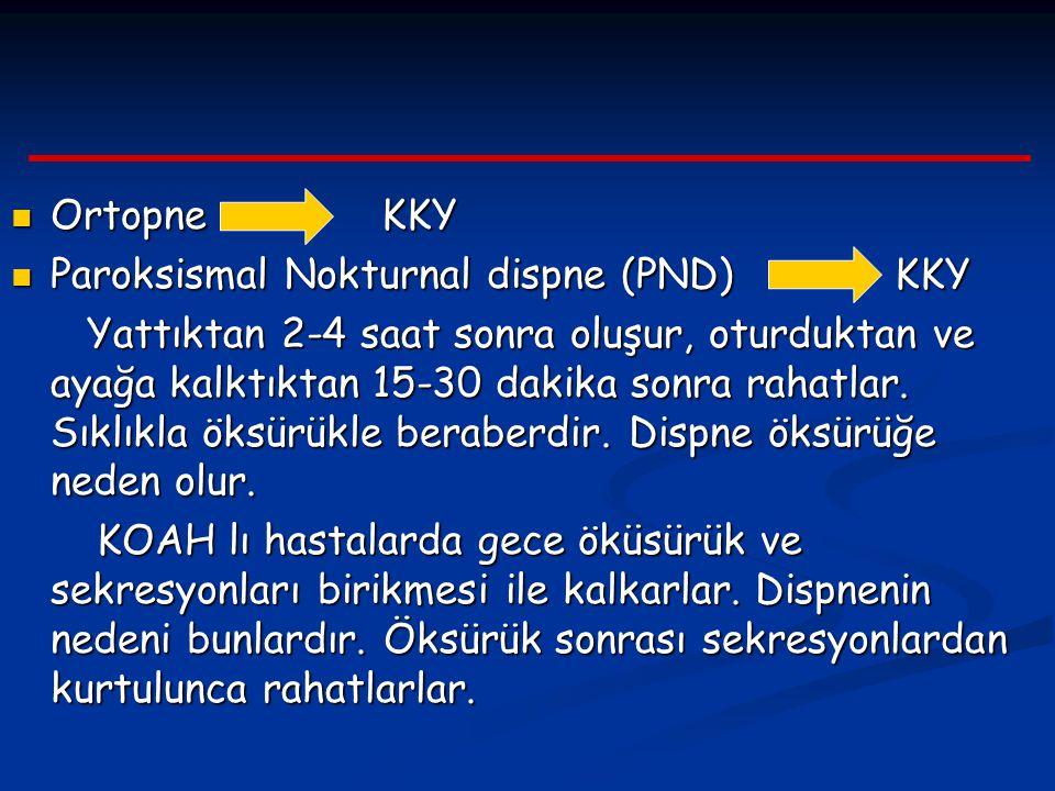 Ortopne KKY Ortopne KKY Paroksismal Nokturnal dispne (PND) KKY Paroksismal Nokturnal dispne (PND) KKY Yattıktan 2-4 saat sonra oluşur, oturduktan ve a