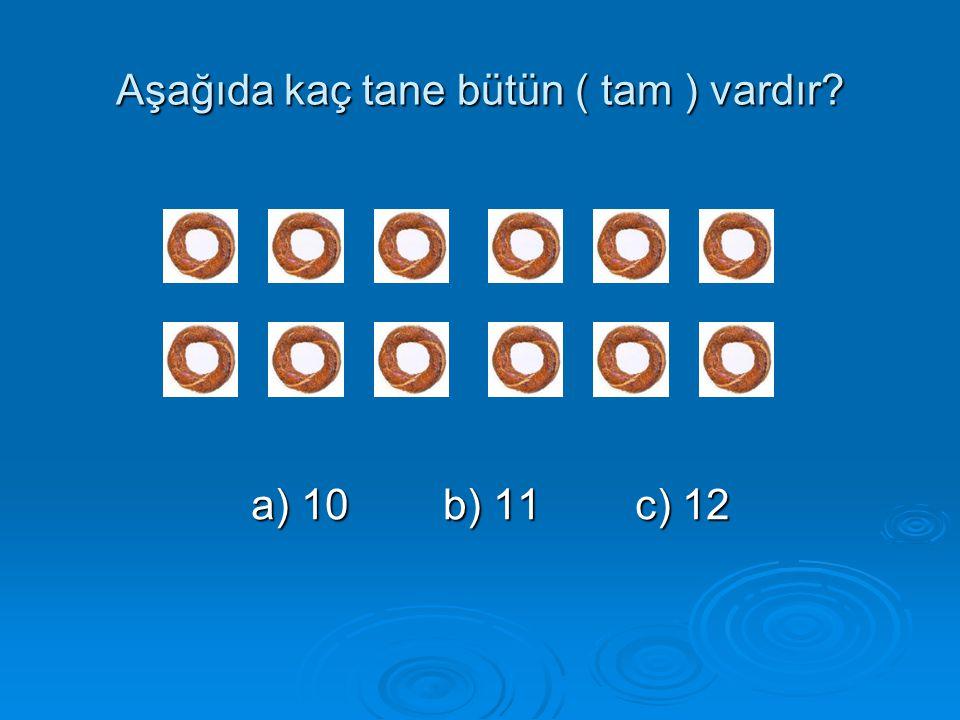 Aşağıda kaç tane bütün ( tam ) vardır? a) 10b) 11c) 12