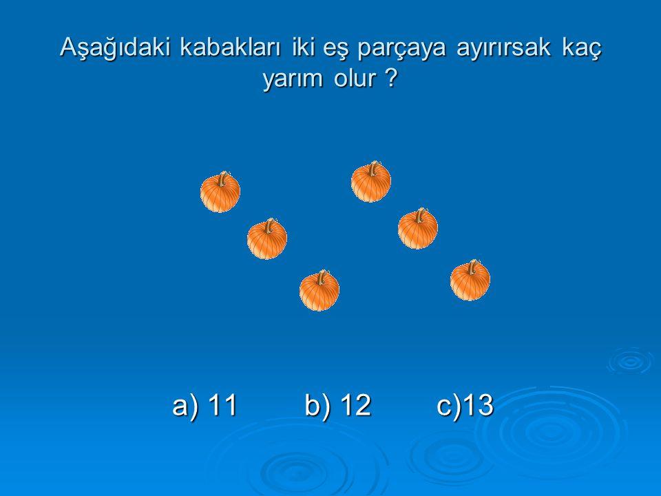 Aşağıdaki kabakları iki eş parçaya ayırırsak kaç yarım olur ? a) 11b) 12c)13