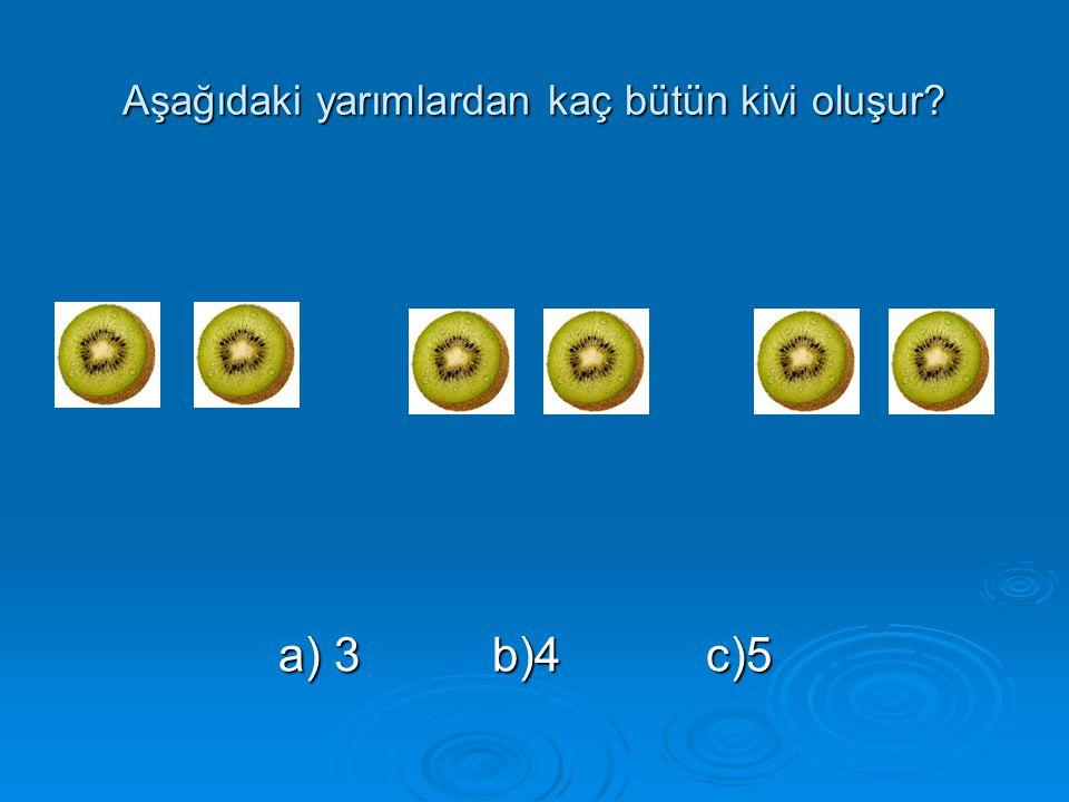 Aşağıdaki yarımlardan kaç bütün kivi oluşur? a) 3b)4c)5