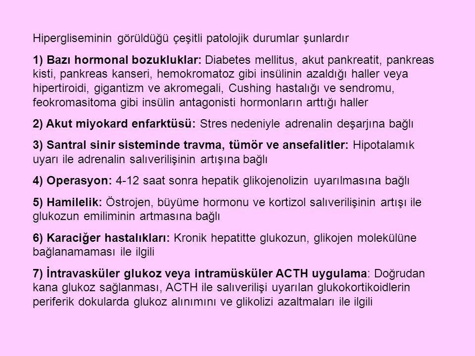 Hipergliseminin görüldüğü çeşitli patolojik durumlar şunlardır 1) Bazı hormonal bozukluklar: Diabetes mellitus, akut pankreatit, pankreas kisti, pankr