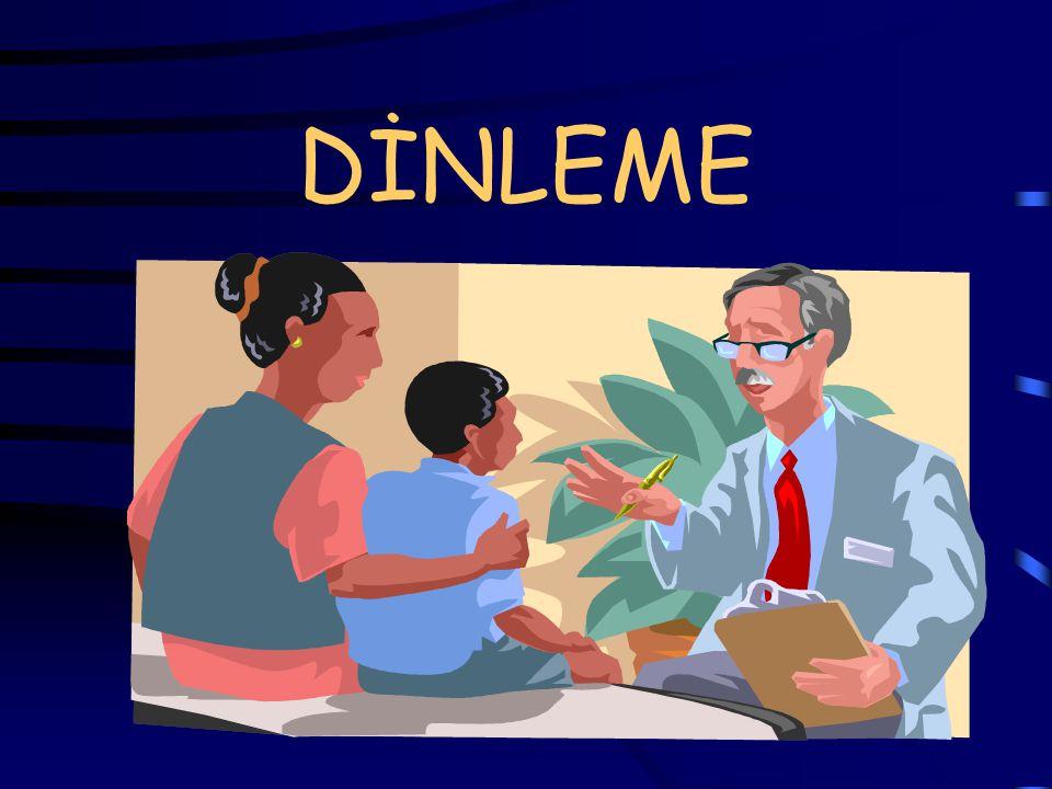 SESSİZLİĞİN KULLANIMI Yorumlamadan dinlemeyi öğrenmek ve hastanın konuşmasını sağlamak güçtür.
