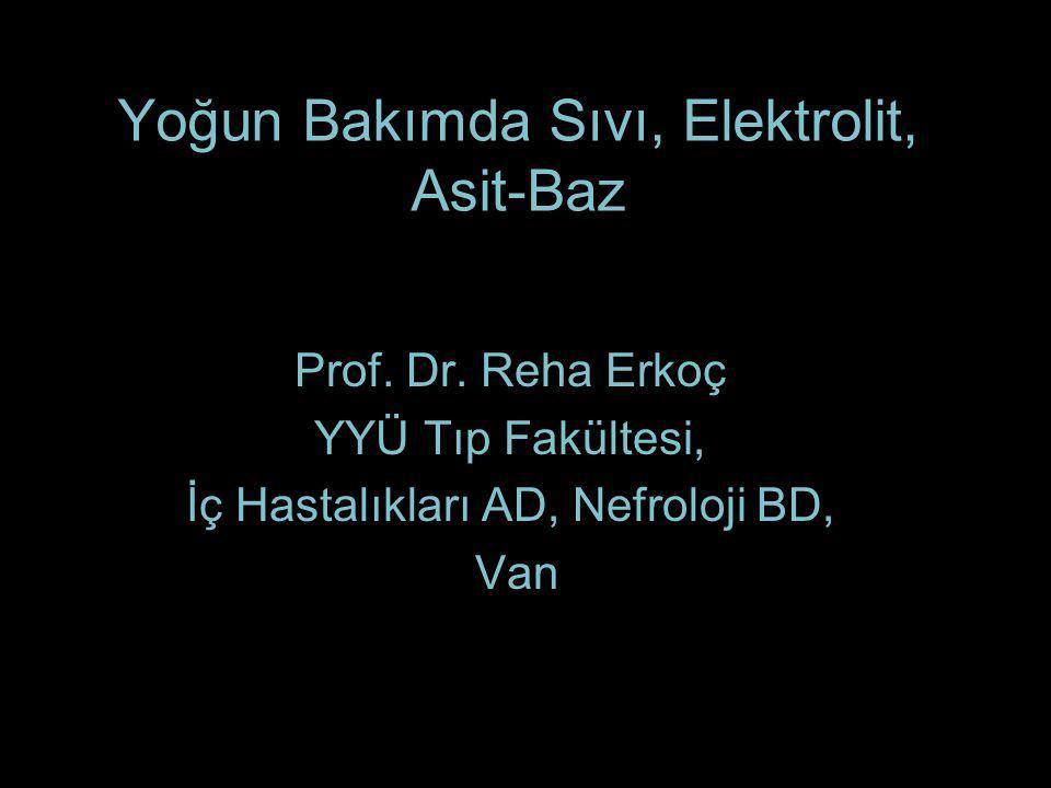 Yoğun Bakımda Sıvı, Elektrolit, Asit-Baz Prof. Dr. Reha Erkoç YYÜ Tıp Fakültesi, İç Hastalıkları AD, Nefroloji BD, Van