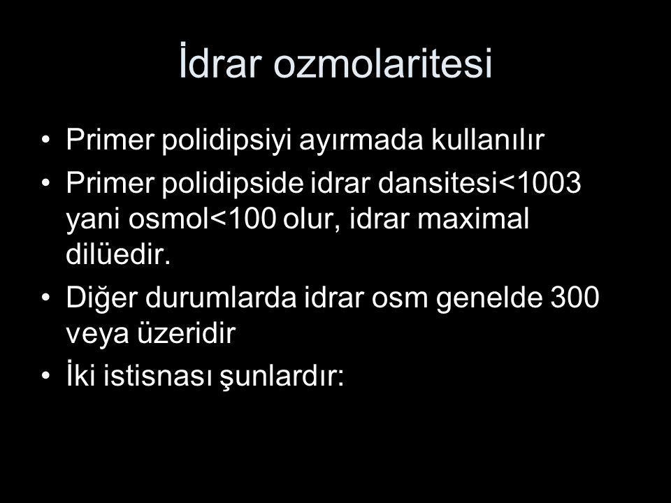İdrar ozmolaritesi Primer polidipsiyi ayırmada kullanılır Primer polidipside idrar dansitesi<1003 yani osmol<100 olur, idrar maximal dilüedir. Diğer d