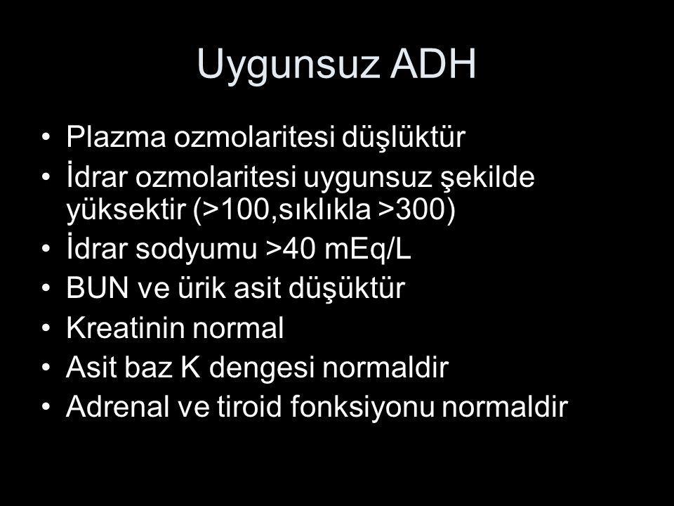 Uygunsuz ADH Plazma ozmolaritesi düşlüktür İdrar ozmolaritesi uygunsuz şekilde yüksektir (>100,sıklıkla >300) İdrar sodyumu >40 mEq/L BUN ve ürik asit