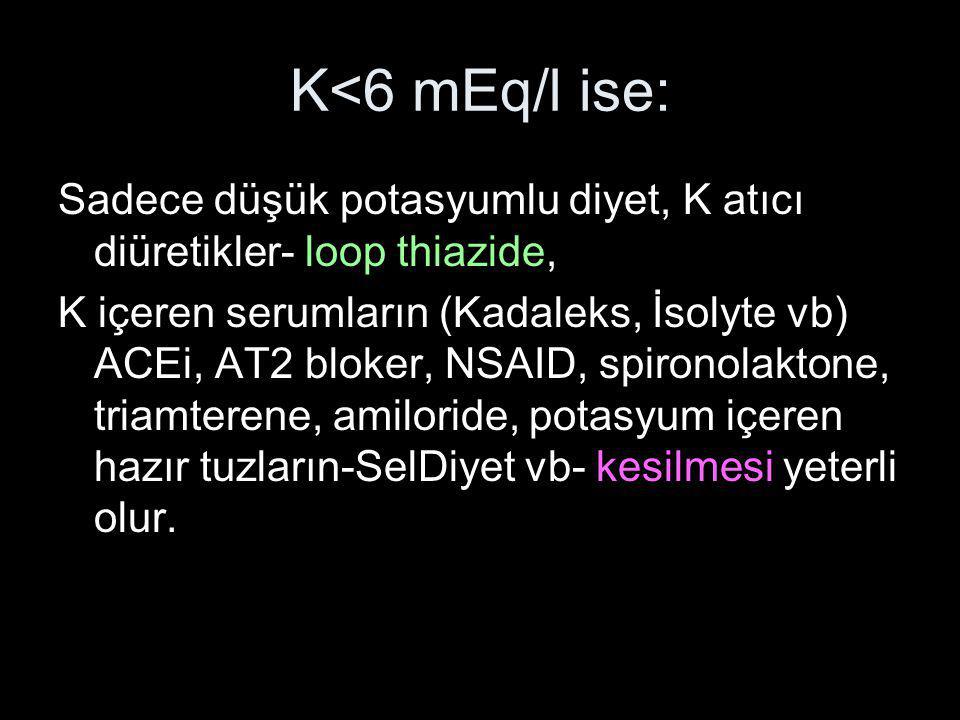 K<6 mEq/l ise: Sadece düşük potasyumlu diyet, K atıcı diüretikler- loop thiazide, K içeren serumların (Kadaleks, İsolyte vb) ACEi, AT2 bloker, NSAID,