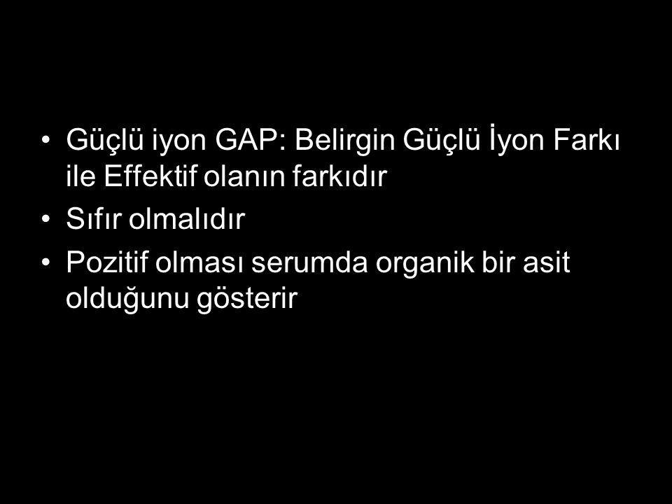 Güçlü iyon GAP: Belirgin Güçlü İyon Farkı ile Effektif olanın farkıdır Sıfır olmalıdır Pozitif olması serumda organik bir asit olduğunu gösterir