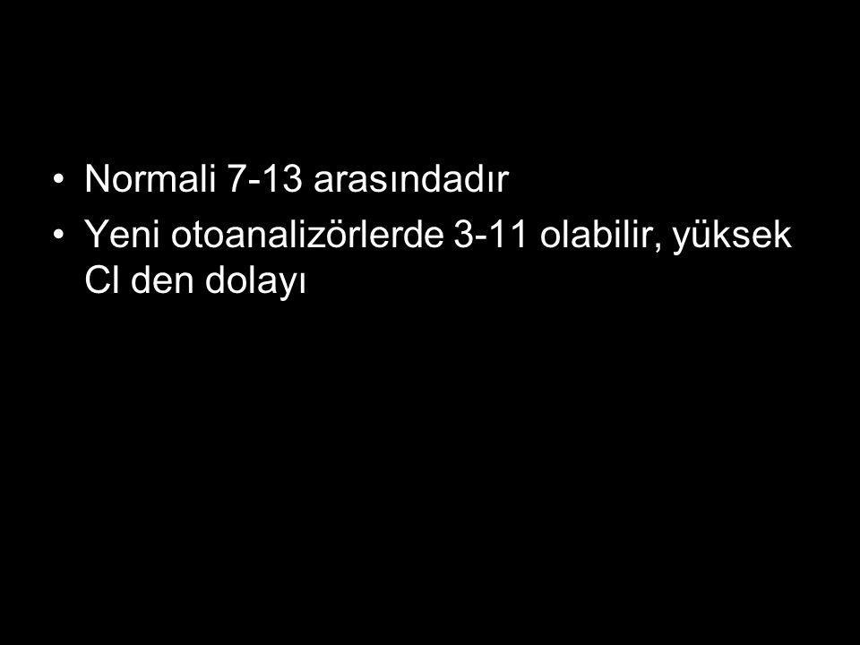 Normali 7-13 arasındadır Yeni otoanalizörlerde 3-11 olabilir, yüksek Cl den dolayı