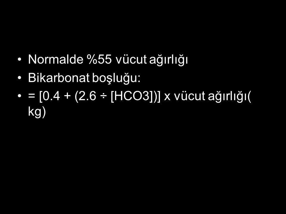 Normalde %55 vücut ağırlığı Bikarbonat boşluğu: = [0.4 + (2.6 ÷ [HCO3])] x vücut ağırlığı( kg)