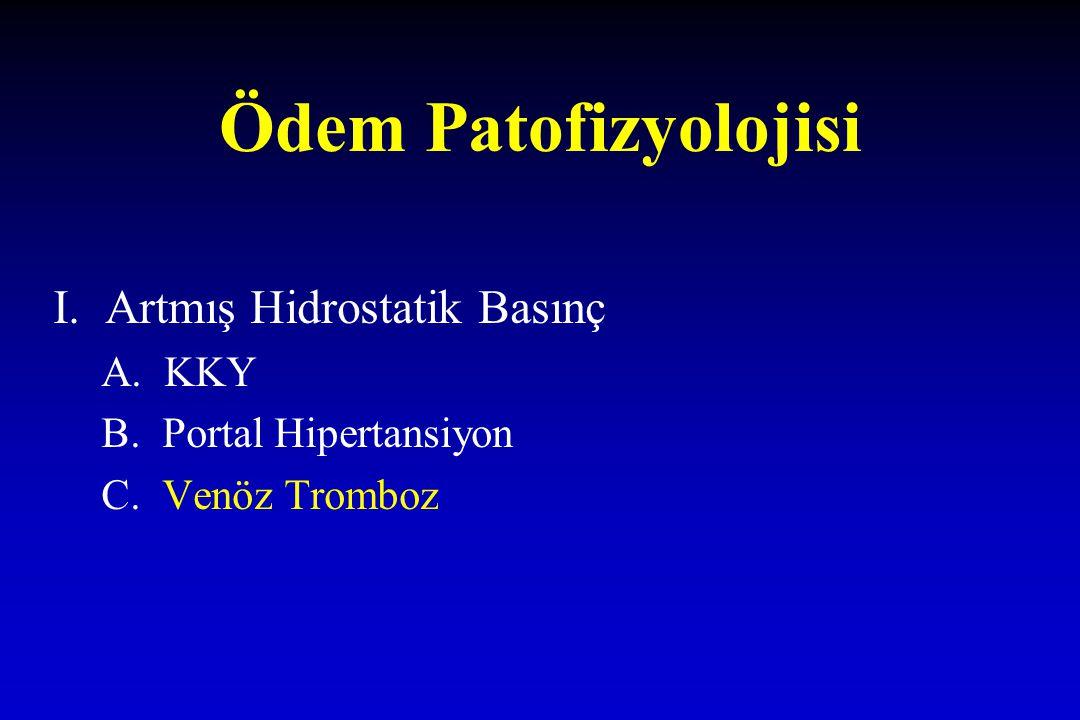 Ödem Patofizyolojisi I. Artmış Hidrostatik Basınç A. KKY B. Portal Hipertansiyon C. Venöz Tromboz