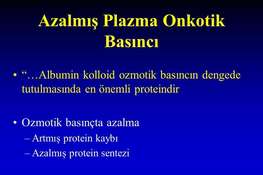 """Azalmış Plazma Onkotik Basıncı """"…Albumin kolloid ozmotik basıncın dengede tutulmasında en önemli proteindir Ozmotik basınçta azalma –Artmış protein ka"""