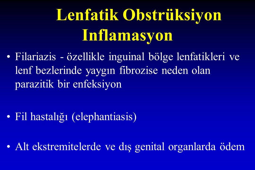 Lenfatik Obstrüksiyon Inflamasyon Filariazis - özellikle inguinal bölge lenfatikleri ve lenf bezlerinde yaygın fibrozise neden olan parazitik bir enfe