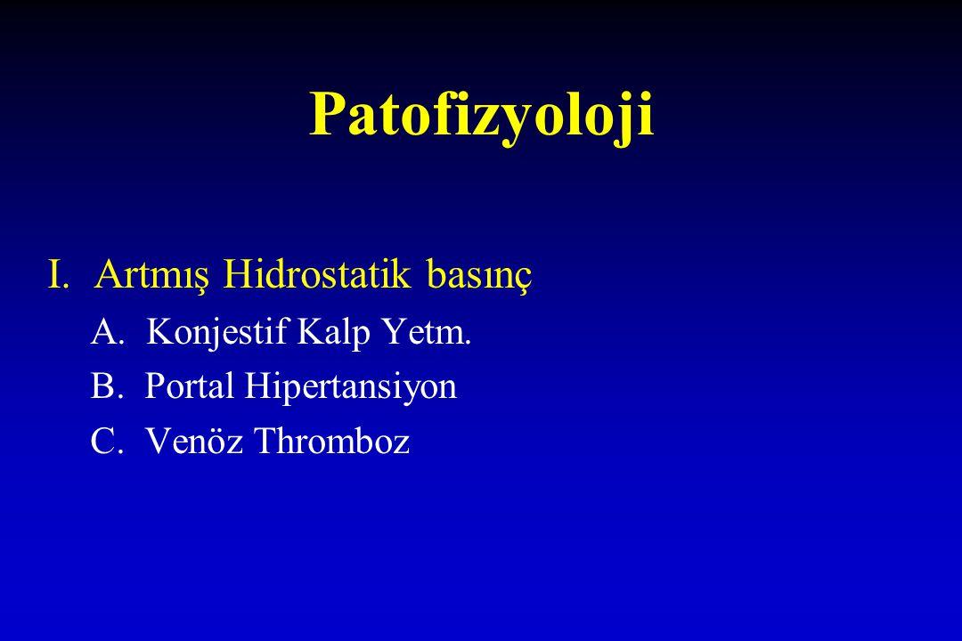 Patofizyoloji I. Artmış Hidrostatik basınç A. Konjestif Kalp Yetm. B. Portal Hipertansiyon C. Venöz Thromboz
