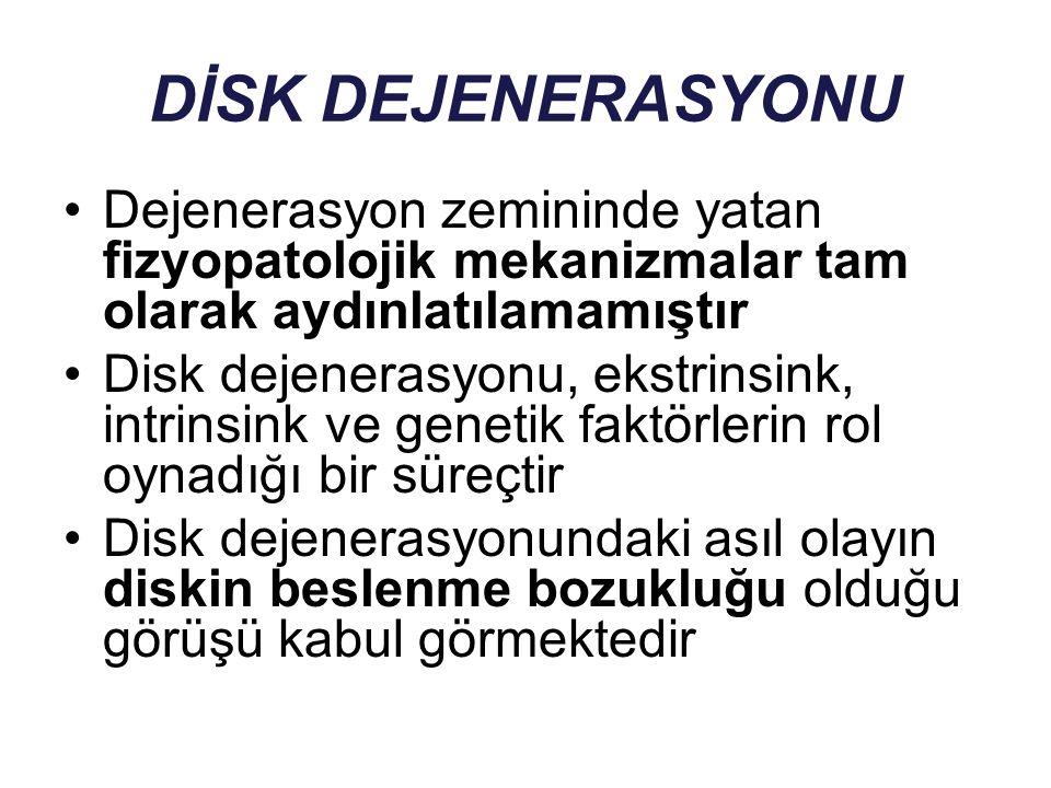 DİSK DEJENERASYONU Dejenerasyon zemininde yatan fizyopatolojik mekanizmalar tam olarak aydınlatılamamıştır Disk dejenerasyonu, ekstrinsink, intrinsink