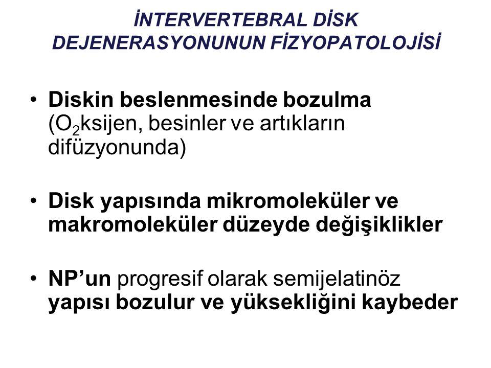 İNTERVERTEBRAL DİSK DEJENERASYONUNUN FİZYOPATOLOJİSİ Diskin beslenmesinde bozulma (O 2 ksijen, besinler ve artıkların difüzyonunda) Disk yapısında mik