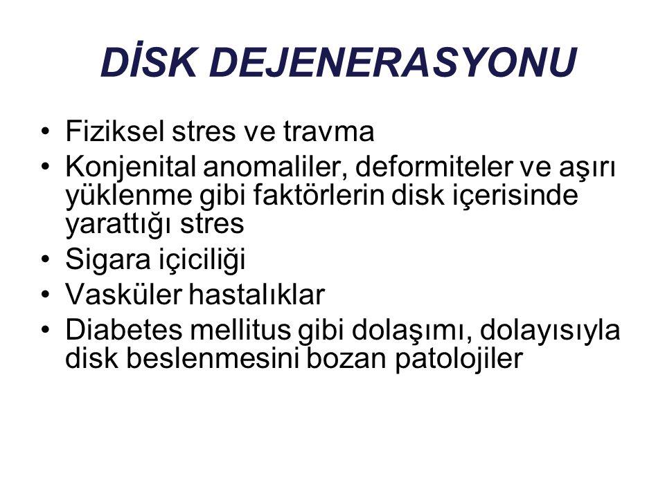 DİSK DEJENERASYONU Fiziksel stres ve travma Konjenital anomaliler, deformiteler ve aşırı yüklenme gibi faktörlerin disk içerisinde yarattığı stres Sig