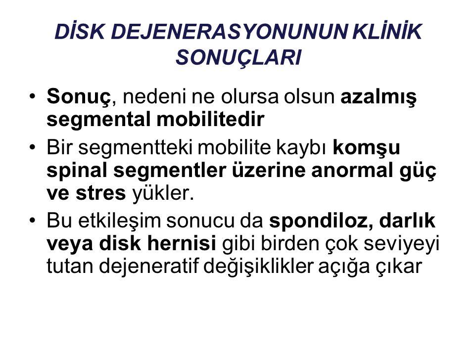 DİSK DEJENERASYONUNUN KLİNİK SONUÇLARI Sonuç, nedeni ne olursa olsun azalmış segmental mobilitedir Bir segmentteki mobilite kaybı komşu spinal segment