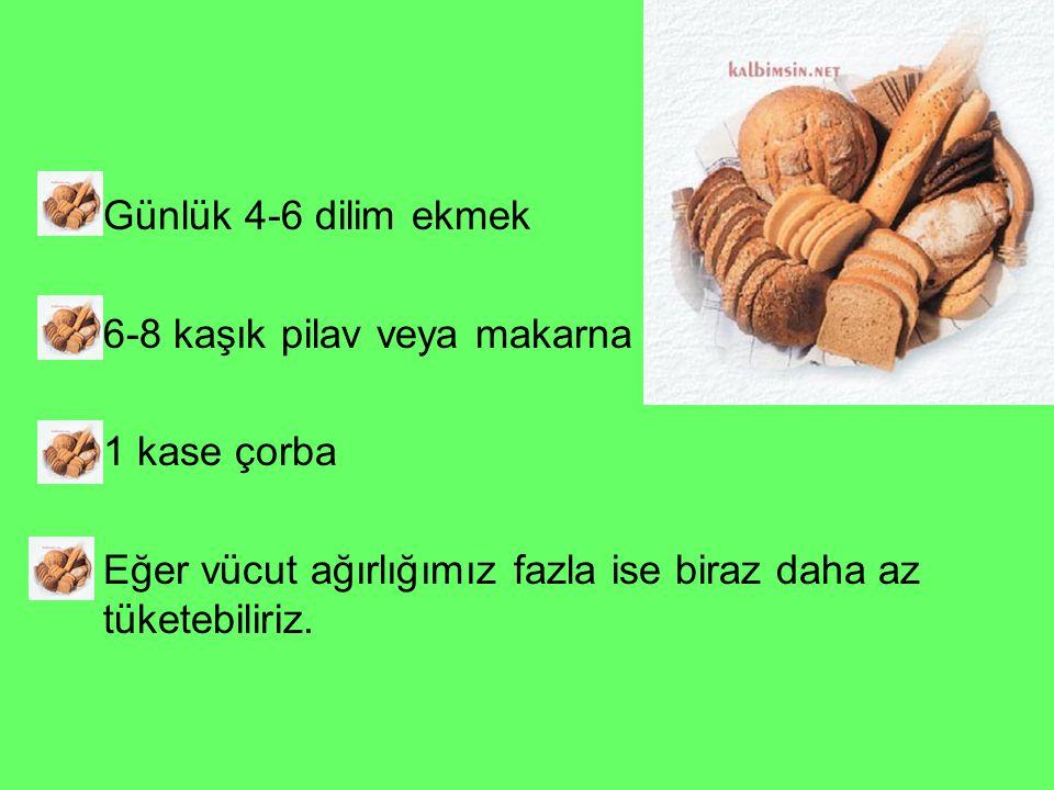 Günlük 4-6 dilim ekmek 6-8 kaşık pilav veya makarna 1 kase çorba Eğer vücut ağırlığımız fazla ise biraz daha az tüketebiliriz.