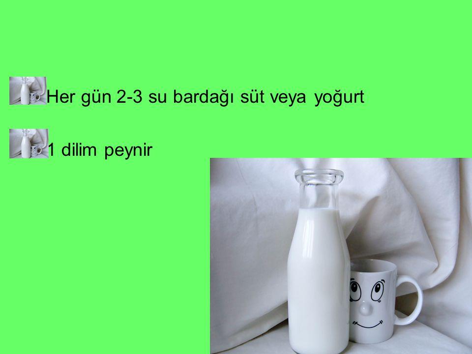 Her gün 2-3 su bardağı süt veya yoğurt 1 dilim peynir