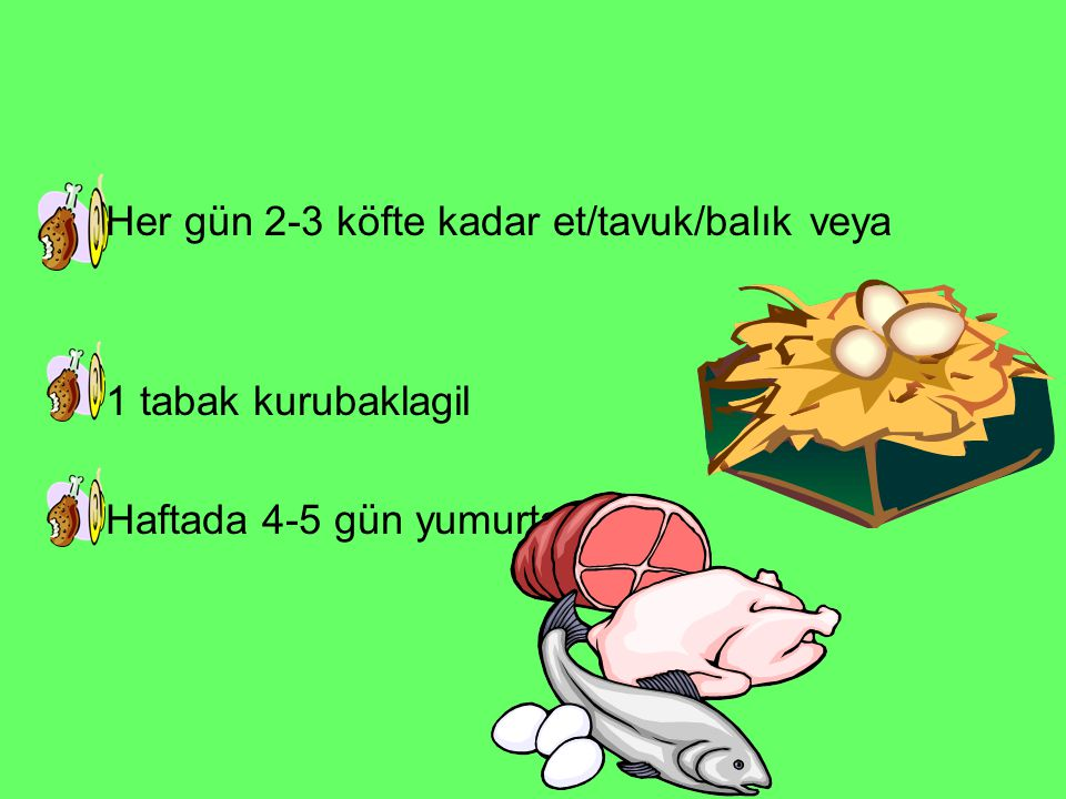 Her gün 2-3 köfte kadar et/tavuk/balık veya 1 tabak kurubaklagil Haftada 4-5 gün yumurta