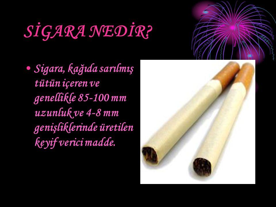 SİGARA NEDİR? Sigara, kağıda sarılmış tütün içeren ve genellikle 85-100 mm uzunluk ve 4-8 mm genişliklerinde üretilen keyif verici madde.