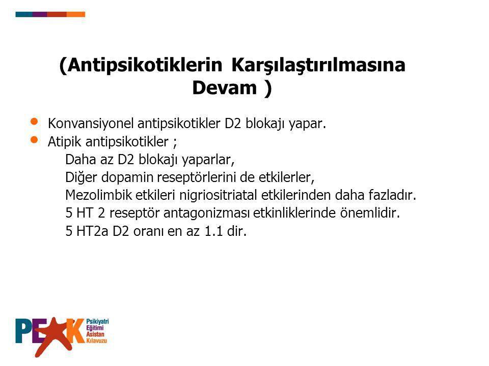 (Antipsikotiklerin Karşılaştırılmasına Devam ) Konvansiyonel antipsikotikler D2 blokajı yapar. Atipik antipsikotikler ; Daha az D2 blokajı yaparlar, D