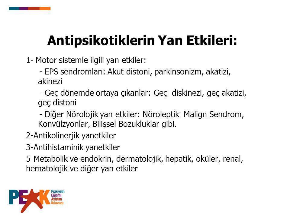 Antipsikotiklerin Yan Etkileri: 1- Motor sistemle ilgili yan etkiler: - EPS sendromları: Akut distoni, parkinsonizm, akatizi, akinezi - Geç dönemde or