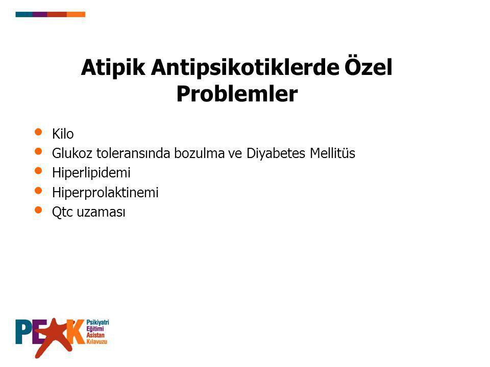 Atipik Antipsikotiklerde Özel Problemler Kilo Glukoz toleransında bozulma ve Diyabetes Mellitüs Hiperlipidemi Hiperprolaktinemi Qtc uzaması