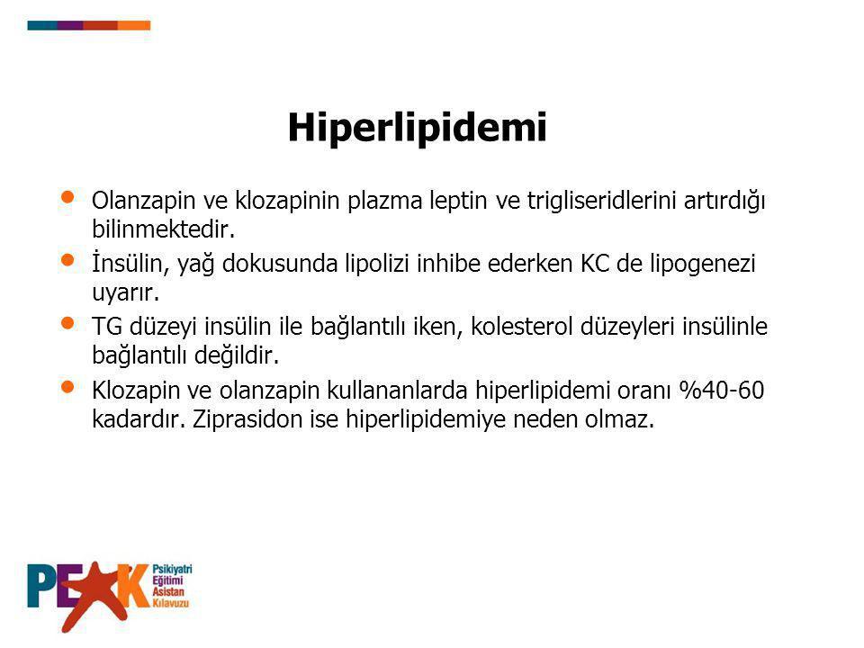 Hiperlipidemi Olanzapin ve klozapinin plazma leptin ve trigliseridlerini artırdığı bilinmektedir. İnsülin, yağ dokusunda lipolizi inhibe ederken KC de