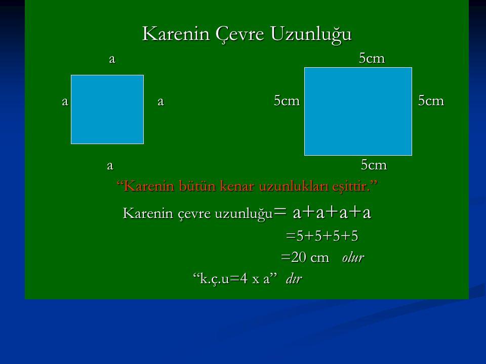 Karenin Çevre Uzunluğu a 5cm a a 5cm 5cm a a 5cm 5cm a 5cm Karenin bütün kenar uzunlukları eşittir. Karenin çevre uzunluğu = a+a+a+a =5+5+5+5 =5+5+5+5 =20 cm olur =20 cm olur k.ç.u=4 x a dır