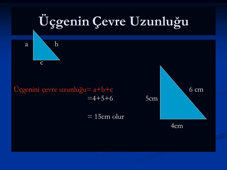Üçgenin Çevre Uzunluğu a b a b c Üçgenini çevre uzunluğu= a+b+c 6 cm =4+5+6 5cm =4+5+6 5cm = 15cm olur = 15cm olur 4cm 4cm